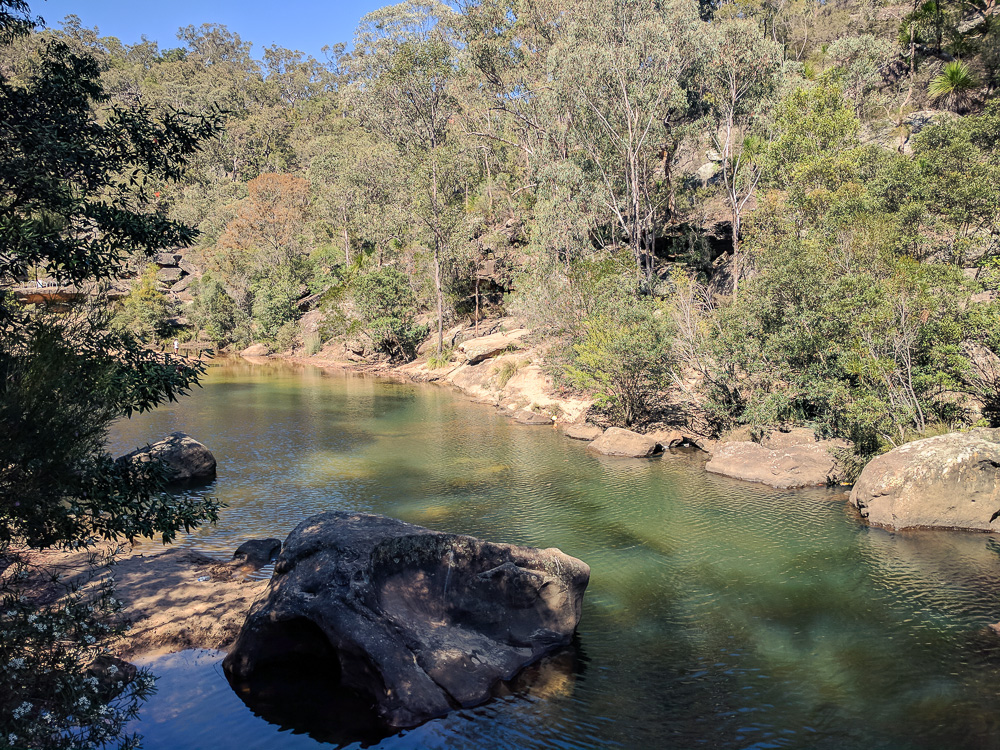 overlooking the jellybean pool and creek
