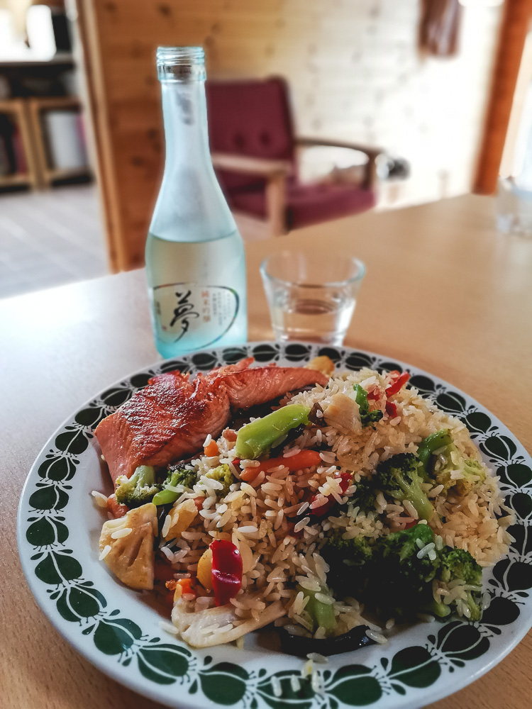 salmon with fried rice
