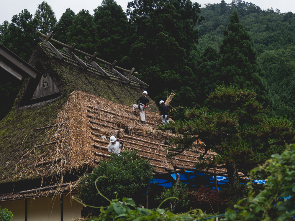workers fixing the thatched roof